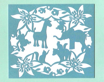 Animal Babies and floral Paper Cut Silhouette Wall Art Wall Decor Baby Nursery 8x10 Unframed