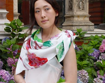 Perfect Gift! Colibri Birds - large scarf - 100% silk