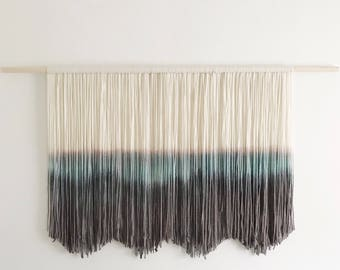 Blue Pink and Charcoal Gray Wall Hanging