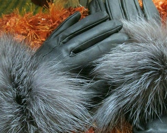 New!Natural,Real Black Leather and silver Fox FUR GLOVES!!!