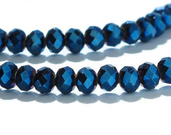 Crystal 4x3mm Rondelle Beads Dark Blue AB One Strand