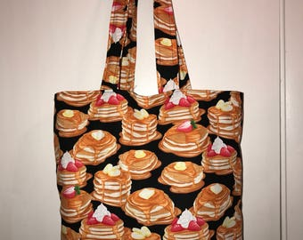 "Pancakes!!!!   w/ matching handles cotton fabric handmade 16"" Tote Bag"