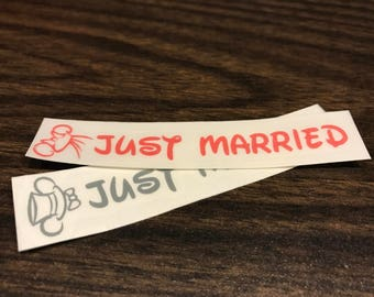 Disney Couple - Just Married Magic Band Decals - Mr. & Mrs. - Bride and Groom - Honeymoon - Mickey and Minnie - Disney
