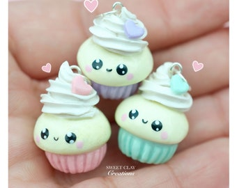 Soft Pastels Kawaii Cupcake Charm Miniature Food Jewelry Handmade GiftGirl Pendant Necklace