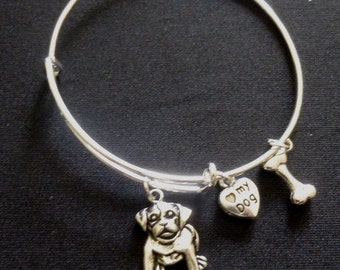 "Doggie Expandable Wire Bracelet with ""Love my Dog"" and Bone Charms ~ Adult or Child"