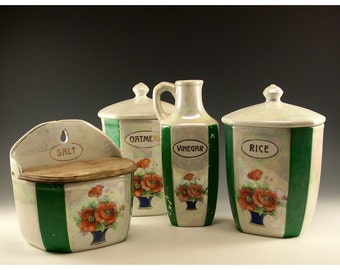 Vintage Four Piece Collection of Czechoslovakian Counter Containers - Green Stripes and Orange Poppies Design