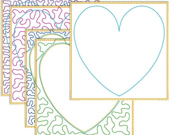 Quilt in the hoop 100 mm embroidery pattern - trapunto heart for 100 mm hoop
