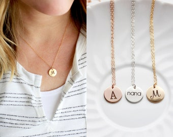 "1/2"" Engraved Disc Necklace - Keepsake Gold Silver Rose Custom Personalized Gift for Her, Bridesmaid Wedding Initial Necklace Name Dainty"