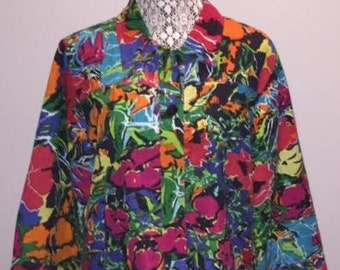 Vintage Funky Floral Jacket / size Large /  by Choices