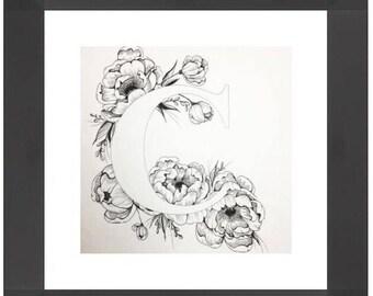 Illustrated 'C' initial print