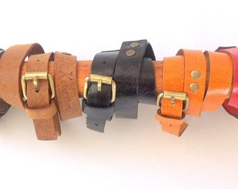 Beautifully handcrafted women leather bracelet. Colorful bracelets. Red, Orange, Brown, Black. 3 Rounds bracelets. Original. A gift for her.
