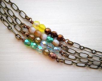 Bohemian Beaded Bracelet - Four Strand Wire Wrapped Czech Glass Bead Bracelet, Faceted Metallic Glass Bead & Star Everyday Boho Jewelry Gift