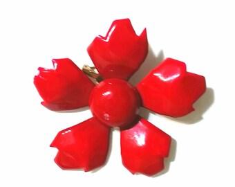 Red Enamel Flower Brooch Novelty Brooch Pin Up Brooch Flower Pin