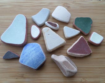 13 Rustic Shards of English Beach/Sea Pottery from the Northumberland Coast, Craft, Pottery Shards, Beach Pottery, Mosaic, Beach Finds
