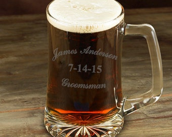 Groomsman 25 oz. Beer Mug - Personalized  Sports Mug - Groomsmen Gift - Personalized Beer Mug - GC1254 TRADITIONAL