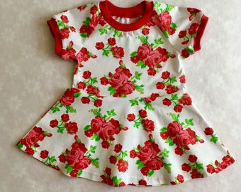 Baby girl dress, red roses baby dress, organic baby dress, girls dress, flowers baby dress