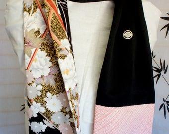 Japanese silk kimono scarf | Hand made from vintage kimono fabrics**S128**