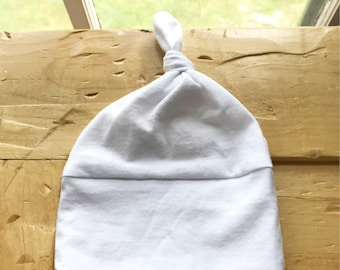 Classic White Baby Hat, Simple, Newborn, Infant, Knot, Gift