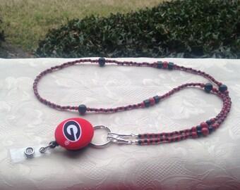 Georgia Bulldogs ID Badge Lanyard Bead Red and Black ID Badge Holder