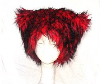 Mi Vida Roja faux fur hat - Kozy Kitty Hat - Red husky fur - fleece lining luxe fur - men women Christmas fuzzy hat Burning Man festival