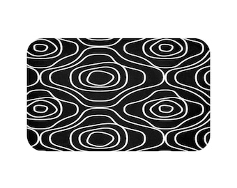 White Black Abstract Flowers Bath Mat