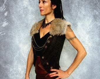 Warrior Princess Felt brown waistcoat with Ethically sourced fur, game of thrones, fur collar, woodland, viking, fantasy, Made to Order