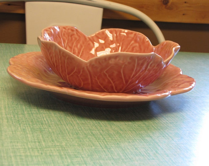 Bordallo Pinheiro Pink Cabbage Bowl and Luncheon Plate Vintage Dinnerware and Replacements