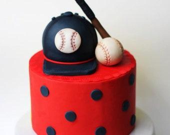 Fondant baseball cake topper - baseball topper - fondant sports - sports cake - baseball fondant topper - sports party - baseball party