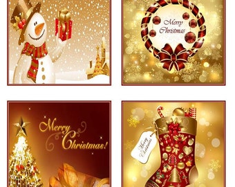 Christmas Coasters Red & Gold  Holiday Coaster Set of 4 -  Tile Ceramic Personalized Custom Gift