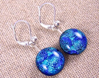 """Dichroic Earrings Eurowire - Teal Blue Green Turquoise Blue Bubbles Radium Polka Dotted Round Lever Back - 1/2"""" Dangle"""