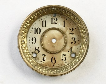 Vintage Brass Clock Face Brass Seth Thomas Hinged Glass Front