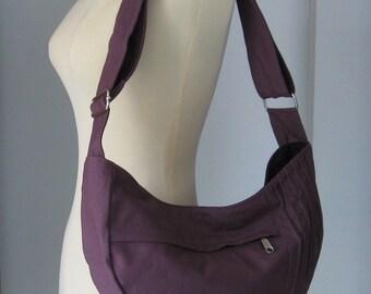 Sale - Plum Canvas Bag - Shoulder bag, Diaper bag, Crossbody, Messenger bag, Tote, Travel Bag - SMILEY