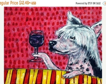25% off Chinese Crested at the Wine Bar Dog Art Print