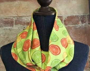 Citrus Print Infinity Scarf on Organic Cotton