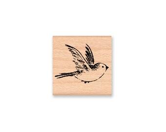 BIRD RUBBER STAMP~Bluebird~Sparrow~Robin~Small Bird Stamp~Wood Mounted Rubber Stamp~Mountainside Crafts (25-10)