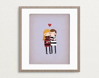 Best Friends - Girls - Customizable 8x10 Archival Art Print