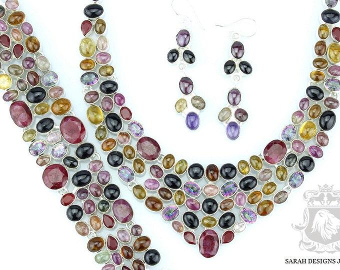 Shop at www.sarahdesignsjewelry.com WATERMELON TOURMALINE KASHMIR Ruby 925 Solid Sterling Silver Necklace Set 125