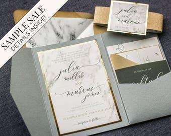 Hochzeitseinladung, Marmor und Gold Folie Einladungen, Kalligraphie Skript Pocketfold mit Glitzer, Luxus-Set - moderne Eleganz PF - 1L Probe