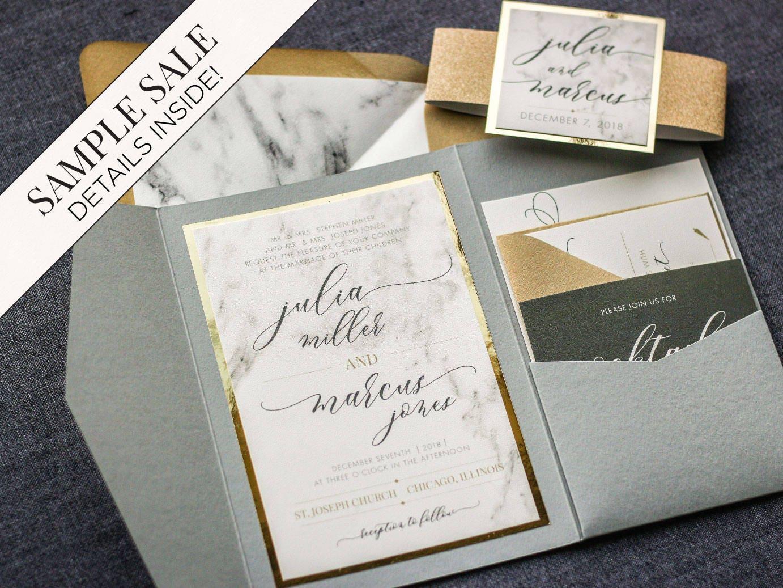 Wedding Invitation Marble and Gold Foil Invitations