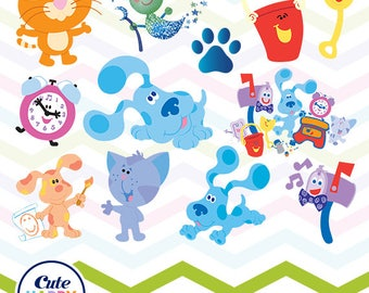 Blue's Clues Clipart, Blue's Clues PNG, Blue's Clues Files, Printable Clipart, Transparent Background PNG, Digital Files for Kids - CUTE-003