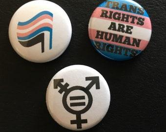 "anti transphobia set 1"" buttons"