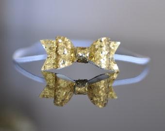 Mini Gold Bow Headband. Baby Headband. Glitter Bow Headband. Gold Headband. Infant Hair Bow. Newborn Girl Headband