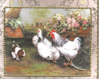 Animals, 3d card, handmade, domestic animals category - birthday, anniversary, countryside, nature, birds, chickens, roosters