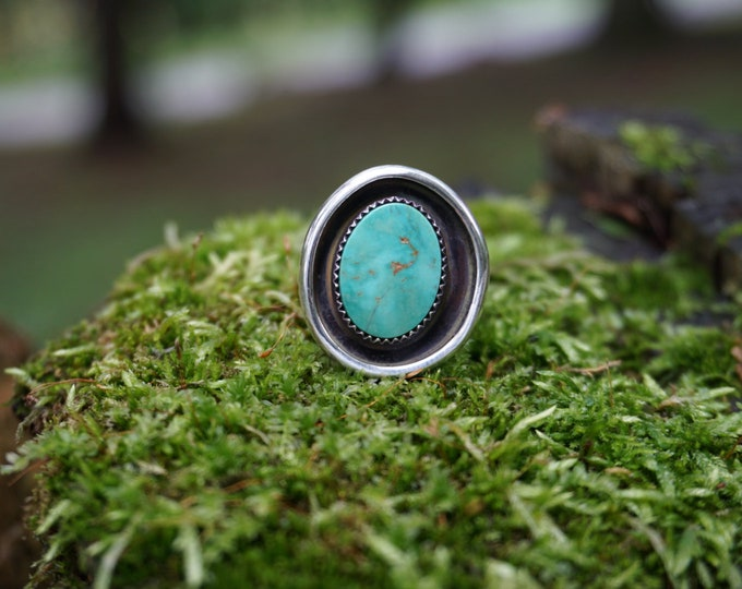 Pilot Mountain Turquoise Shadowbox Silver Ring