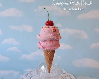 Fake Ice Cream Double Scoop Strawberry on cake Cone Sprinkles Hand Painted Food Photo Prop Gift Decor