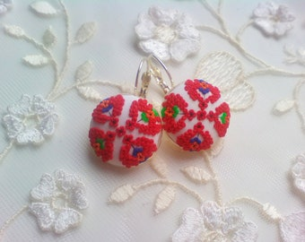 Bulgarian Folk Embroidered earrings, Unique Polymer Clay Earrings, Floral Filigree Earrings, Unique Gift
