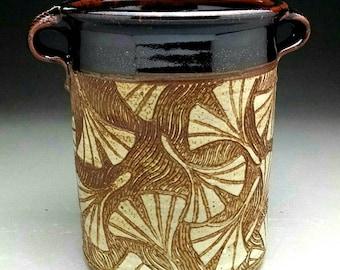 Ginkgo Leaf Design Wine Cooler /  Utensil Jar with Handles - Made to Order