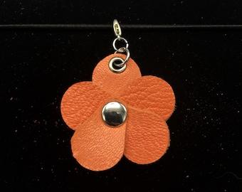 Bright Coral Orange Planner Flower - Leather Jot Clip-on Planner Charm