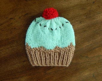 Knit Hat - Mint Chocolate Chip Ice Cream : Baby Hat, Toddler Hat, Child Hat