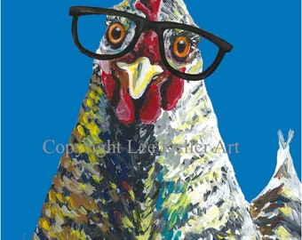 Colorful Chicken art print from original canvas chicken painting.  Farmhouse chicken art, Funny Chicken art,  chicken print, cute hen art